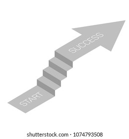 stair with arrow isometric view, infographic concept, vector eps 10
