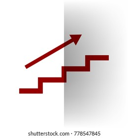 Stair with arrow. Vector. Bordo icon on white bending paper background.