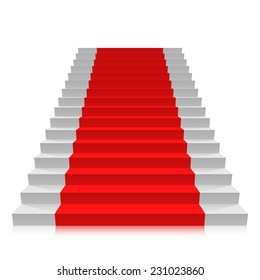 Stair carpet on a white background, Red carpet on stairs, Vector illustration