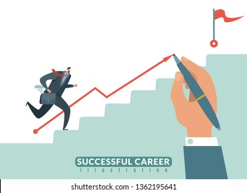 Stair to the goal. Path to success business career, businessman stairway to target and growth successful employeeman vector illustration