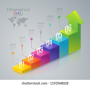 Stair infographics design vector and marketing icons can be used for workflow layout, diagram, annual report, web design. Business concept with 6 options, steps or processes.
