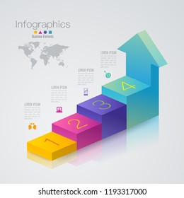 Stair infographics design vector and marketing icons can be used for workflow layout, diagram, annual report, web design. Business concept with 4 options, steps or processes.