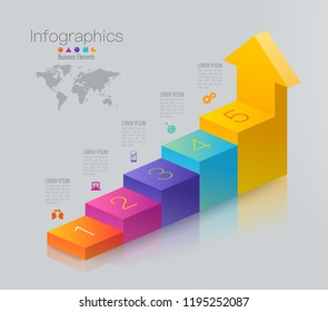 Stair infographics design vector and marketing icons can be used for workflow layout, diagram, annual report, web design. Business concept with 5 options, steps or processes.