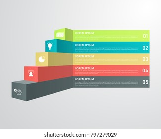Stair infographics template for business, education, web design, banners, brochures, flyers, diagram, workflow, timeline. Vector illustration.