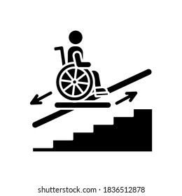 Stair lift black glyph icon. Wheelchair platforms and stairlifts for disabled users. Outdoor stair lift elevator. City infrastructure. Silhouette symbol on white space. Vector isolated illustration