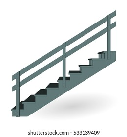 Stair metal icon 3d side  view isolated. Vector illustration.
