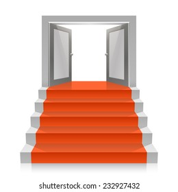 Stair with open doors. Vector illustration