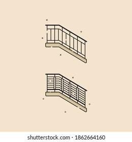 Stair railing, modern homes. vector design