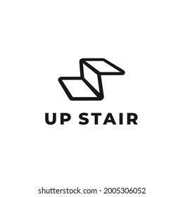 stair step by step groing up logo design illustration