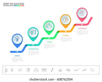 Stair step to success concept. Business timeline modern colorful pointer infographics template with icons and elements. Can be used for workflow layout,banner,diagram, web design. Vector Illustration.