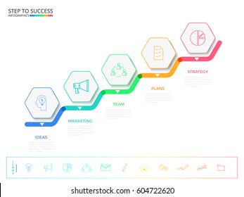 Stair step to success. Modern colorful business timeline hexagon infographics template with icons and elements. can be used for workflow layout, banner, diagram, web design. Vector Illustration.