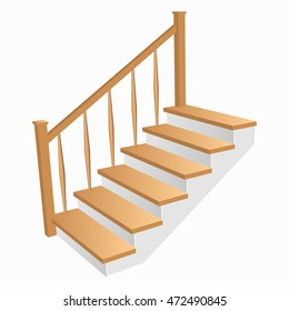 Staircase 3d Icon with wooden steps for home. Ladder  Sample with railing side view isolated. Vector illustration on a white background.