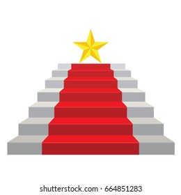 staircase color red carpet, triumph and success concept. illustration vector.