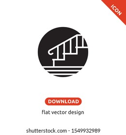 Staircase icon. The flight of stairs symbol. Black sign Isolated on white background. Simple vector illustration for graphic and web design. Flat design. The inclusion of space is the stair railing.