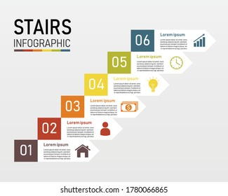 Staircase infographic 6 element for presentation. ladder to success business concept. can be used for workflow layout, diagram, web design. vector illustration in flat style modern design.