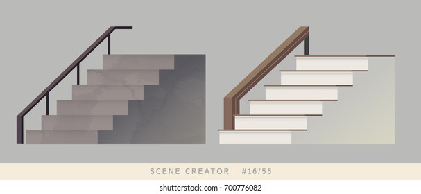 Staircase Isolated vector objects. Scene creator set.