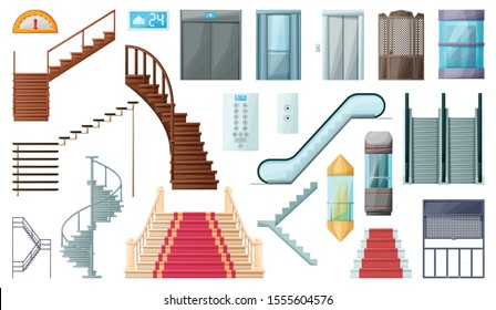 Staircase and lift vector cartoon set icon.Vector illustration stair and escalator.Isolated cartoon icon wooden of metal staircase on white background.