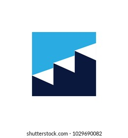 staircase negative space square logo vector