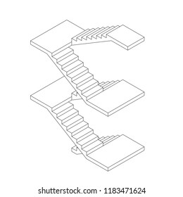 Staircase with platforms. Vector outline illustration. Isometric projection.