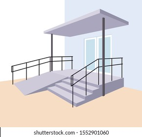 Staircase with ramp for the disabled. Entrance to the building. A device for people with disabilities. Vector illustration