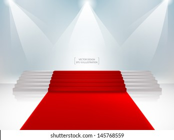 Staircase with red carpet. Vector Illustration