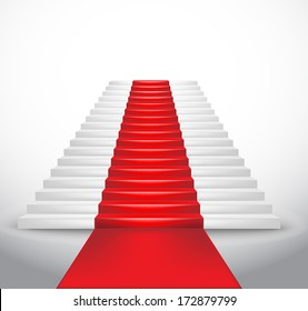 Staircase and red carpet. Vector Illustration