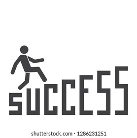 Staircase to success, a person running upstairs