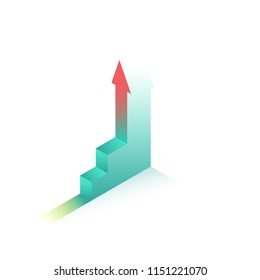 Staircase trail. goal achievement and ambition. growth business  concept vector illustration