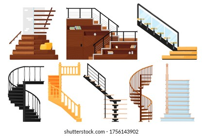 Staircase vector. Interior wooden stairs, store escalator, spiral staircase, floor to floor metal ladder. Cartoon stairs with handrails and steps collection