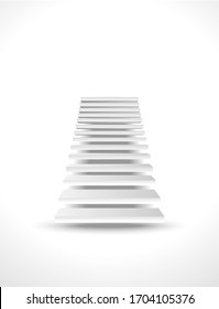 Staircase up in white interior. 3d vector Front view of steps to future soaring in space - spiritual and career promotion, personal or business development. Achievement staircase, stairway to heaven