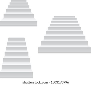 Staircase - white stairs template isolated on white, front view of stairway