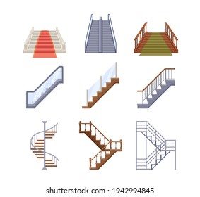 Staircases, Wooden and Metal Ladders with Handrails. Wood and Marble Stairs Covered with Green and red Carpet, Spiral Staircase, Store Escalator, Floor to Floor Ladder, Cartoon Vector Isolated Set