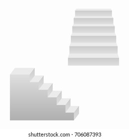 Stairs, 3d realistic staircases. Vector illustration.