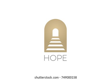 Stairs in archway Religion Logo abstract design vector template. Hope Logotype concept icon Negative space style.