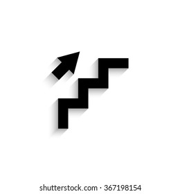 stairs - black vector icon  with shadow