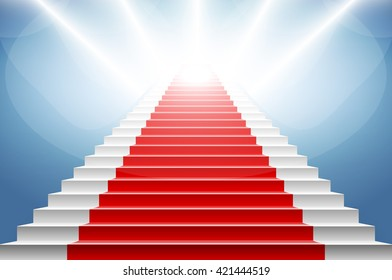 Stairs covered with red carpet. Scene illuminated by a spotlight art