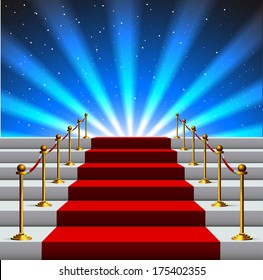 Stairs covered with red carpet to the universe