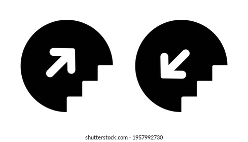 Stairs up and down icon with arrow. Elevator sign upward and downward isolated. Stairway black pictogram. Vector illustration.