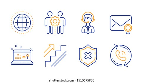 Stairs, Employees teamwork and Verified mail line icons set. Shipping support, Sound check and Reject protection signs. Globe, Call center symbols. Stairway, Collaboration. Business set. Vector