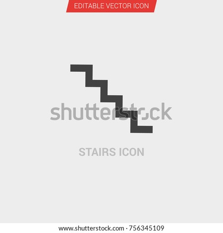 3cb43ec96bce Stairs Icon Dark Grey New Trendy Stock Vector (Royalty Free ...