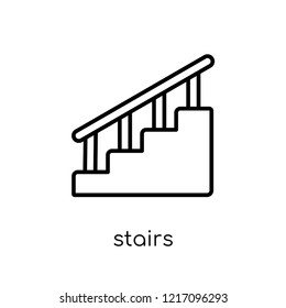 stairs icon. Trendy modern flat linear vector stairs icon on white background from thin line collection, outline vector illustration