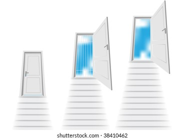 Stairs leading to the door, in three variants.