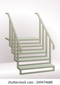 Stairs with Railing Going Up. Perspective is Enhanced by Gradients in the Background.