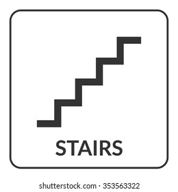 Beau Stairs Sign. Flat Vector Web Icon Isolated On White Background. Warning  Public Information Staircase