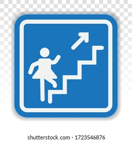 Stairs steps / staircase or stairwell sign line art vector icon for apps or website