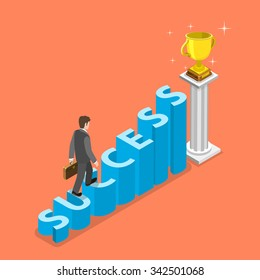 Stairs to success isometric vector concept. Businessman is walking to the winner cup by the stairs that looks like the word SUCCESS. Business strategy, growth, leadership.