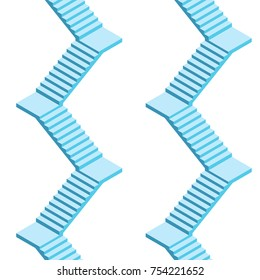 Stairs with turn, seamless pattern. Vector illustration in isometric.