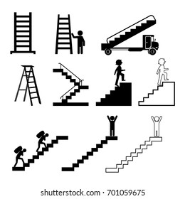 Stairs of types , straight, spiral, in the house, in the subway vector illustration