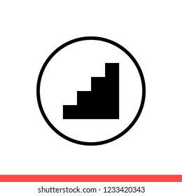 Stairs vector icon, floor symbol. Simple, flat design for web or mobile app
