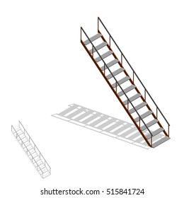 Stairs.Isolated on white background. 3d Vector illustration.3d isometric style.